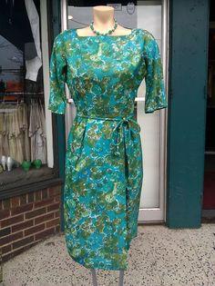 60s silk floral wiggle dress- @ Up Six Vintage