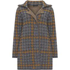 Manon Baptiste Grey / Curcuma Plus Size Houndstooth knitted cardigan ($77) ❤ liked on Polyvore featuring tops, cardigans, grey, plus size, long sleeve cardigan, oversized grey cardigan, women's plus size tops, long sleeve tops and womens plus tops