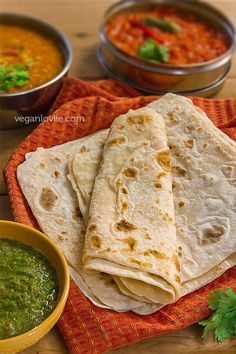 This is Roti. Roti is the base of many Indian meals as most would require a Roti to eat. Roti is like a tortilla of sorts. Very light and made out of wheat. Indian Food Recipes, Asian Recipes, Whole Food Recipes, Cooking Recipes, Indian Foods, Delicious Vegan Recipes, Vegetarian Recipes, Yummy Food, Mauritian Food