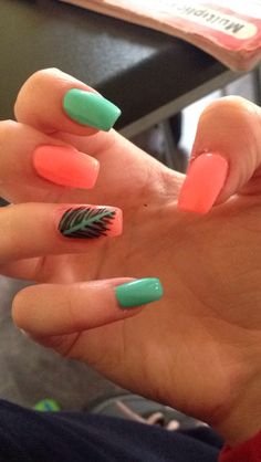 Bright coral and turquoise nails with a feather for summer☺️ I love gel nails
