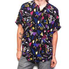 RAYON abstract print 80s 90s ABSTRACT PRINT short sleeve button up shirt