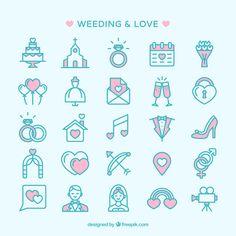 結婚式をテーマにした可愛いベクターアイコンセット