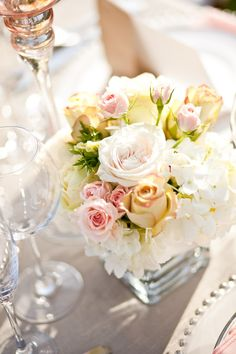 wedding centerpiece - roses in square glass vase