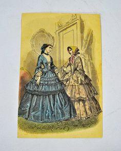 Original Antique 1851 Early Victorian Era Fashion Print by ManyAMoonVintage, $10.00