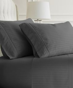 Another great find on #zulily! Gray Stripe Becky Cameron Four-Piece Sheet Set #zulilyfinds