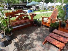 Natural Wood Chairs and Benches Wood Chairs, Spring Fever, Winter Garden, Benches, Natural Wood, Bloom, Patio, Outdoor Decor, Nature