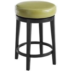 "Avocado, black $120; order 2 for work room 17"" Dia x 25""H Birch wood, faux leather, foam, metal Handcrafted Stool turns 360°"