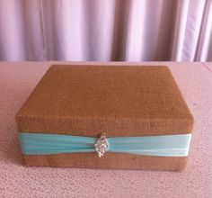 Burlap with Tiffany Blue Satin Accent