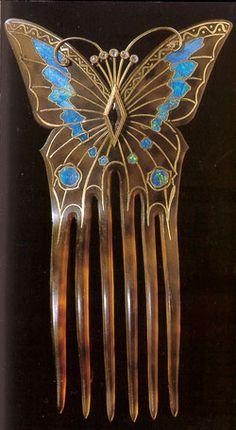 Cute Art Nouveau hair comb. http://chiwahwah.tripod.com/fouquet-comb.jpg