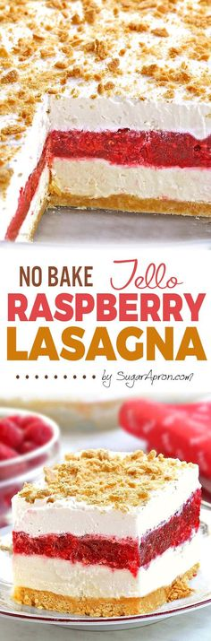 No Bake Raspberry Jello Lasagna - Sugar Apron No Bake Raspberry Jello Lasagna - A light and easy dessert that is perfect for spring/summer gatherings. Raspberry Desserts, Jello Desserts, Jello Recipes, Summer Desserts, No Bake Desserts, Easy Desserts, Delicious Desserts, Cake Recipes, Yummy Food
