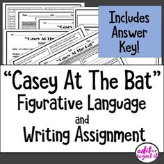 Casey at the Bat by Ernest Lawrence Thayer Middle School Grammar, Middle School Classroom, Casey At The Bat, Emergency Sub Plans, Poetry Unit, Reading Projects, Writing Assignments, Author Studies, Figurative Language