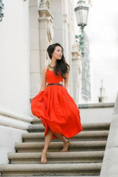 I need to find this kind of red dress. It looks amazing with those nude shoes and dark hair.