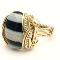 Handmade Wire Wrap Two Tone Sterling Silver/14kt Gold by JandSGems,
