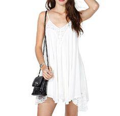White lace stitching straps dress  AA1119BF