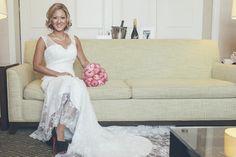 Bride wearing her Christian Louboutin Hyatt Regency Huntington Beach