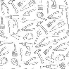 Нарисованный от руки ремонт инструменты Бесшовный узор. Нарисованный от руки ремонт инструменты Бесшовный узор — стоковая векторная графика и другие изображения на тему Символ Стоковая фотография