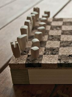 For this project I decided to use wood and cork. It was inspired by the idea of putting thumb tacks on a wall map to map out the places you have been and the places you plan to go. Modern Chess Set, Chess Set Unique, Chess Pieces, Game Pieces, Play Wood, Chess Table, Wall Maps, Whittling, Diy Arts And Crafts