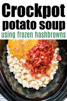 Creamy Crockpot potato soup with frozen hashbrowns is a cheap dinner with tons of flavor. Top with bacon and cheese for a killer meal. #crockpotpotatosoup #potatosoup #slowcookerpotatosoup Crockpot Baked Potato Soup, Potato Cheese Soups, Ham And Potato Soup, Creamy Potato Soup, Loaded Baked Potato Soup, Crock Pot Soup, Best Crockpot Recipes, Bacon Recipes, Potato Recipes
