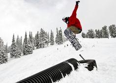 Zach Marcum at Powder Mountain, Utah. Photograph by Nicholas Draney, via The Big Picture. #nicholas_draney #zach_marcum #snowboarding #red #black #white #ice #mountains #utah #powder