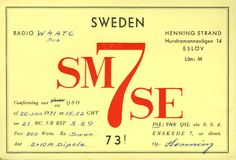 QSL Card from SM7SE, Eslov, Sweden, to W4ATC, NC State Student Amateur Radio