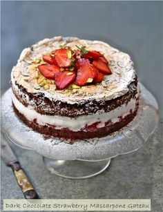 Gluten Free Dark Chocolate Strawberry Mascarpone Gateau