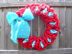 18 inch pink burlap wreath with turquoise/white by ModernAandD, $35.00