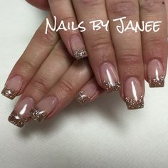 Champagne glitter gel nails by Janee at A Wild Hair Salon Best Nails in Reno,NV