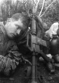 A first lieutenant with the 5th Special Forces Group rests in the field, 1968.