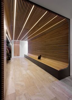 The most obvious solution to lighting a timber ceiling is to use uplight - you've invested time, money and passion into that design - show it off! Wood Slat Ceiling, Wood Slat Wall, Wooden Ceilings, Office Interior Design, Home Interior, Interior Architecture, Timber Slats, Timber Cladding, Wall Design