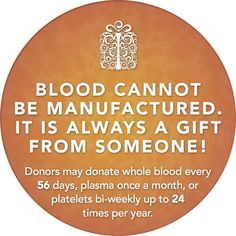 You can save up to three lives with one blood donation.  Donate blood today!