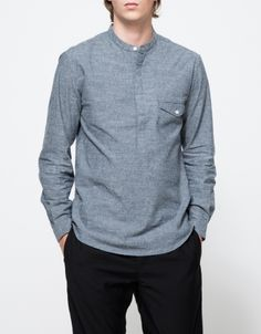 Banded Collar Popover Shirt