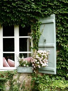 A lovely country cottage with a window box filled with flowers, light blue shutters & a green vine growing on the cottage stone. Beautiful Gardens, Beautiful Homes, Beautiful Soul, Dream Garden, Home And Garden, Garden Cottage, Rose Cottage, Gazebos, Ivy House
