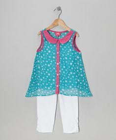 Take a look at this Turquoise Star Layered Tunic & White Leggings - Toddler & Girls on zulily today!