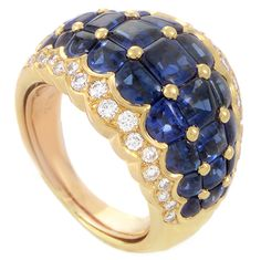 Piaget Sapphire Diamond Gold Band Ring | From a unique collection of vintage band rings at https://www.1stdibs.com/jewelry/rings/band-rings/