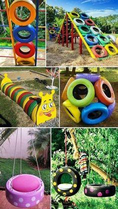 Kids Outdoor Play, Kids Play Area, Backyard For Kids, Diy For Kids, Outdoor Play Areas, Diy Playground, Children Playground, Tire Craft, Backyard Playset