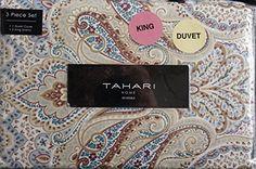Tahari 3pc King Luxury Cotton Duvet Cover Set Blue Maroon Beige Paisley Floral Pattern on White Tahari Home http://www.amazon.com/dp/B014JNGEWQ/ref=cm_sw_r_pi_dp_RYIiwb09G95J0