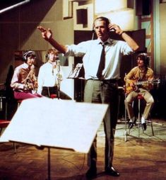 "paolayellowdream: "" George Martin,Paul,John and George at Abbey Road Studios,rehearsing the song ""All You Need is Love"", for the first broadcast planetary show ""Our World""( for U.K. By BBC) June,25th 1967 From Pinterest.com"""