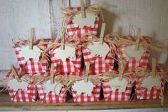 Looking for a fun farm themed favor for a birthday party. Red & white gingham take out boxes are the perfect container for a petite piggy bank and chocolates shaped like copper pennies.