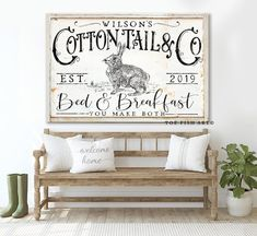 Bed and Breakfast Sign Rustic Farmhouse Wall Decor Name Established Sign Personalized Guest Bedroom Wall Art Vintage Cottontail Faux Metal - Modern French Country Decorating, Guest Bedroom, Farmhouse Guest Bedroom, Farmhouse Wall Decor, Bedroom Wall Art, Bedroom Wall, Bed And Breakfast, Home Decor, Rustic Farmhouse