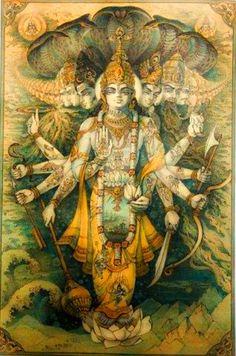 Lord Krishna's Vishwaroopam Krishna Leela, Radha Krishna Love, Radhe Krishna, Lord Ganesha Paintings, Krishna Painting, Shiva Shakti, Shiva Art, Hanuman Chalisa, Bhagavata Purana