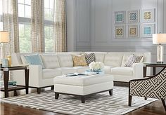 picture of Reina White Leather 5 Pc Sectional Living Room  from Leather Living Rooms Furniture