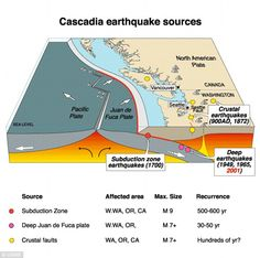 Devastation: Experts say citizens have 20 minutes to run when a tsunami of around 9.0 on the Richter scale will hit the Pacific Northwest when the Juan de Fuca plate, a 700-mile chunk of ocean, slips under the region