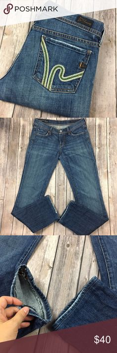 """Citizens of Humanity Jeans Wimbledon Ava Straight Tag size - 27 Waist Measured Across - 15"""" Inseam - 32"""" The cuffs have been hemmed. Rise - 7"""" Fabric Content - 98% cotton 2% polyurethane Great used condition! Citizens Of Humanity Jeans Straight Leg"""