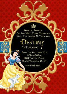 Snow White Photo Invitation Snow White by LetsPrintAParty on Etsy