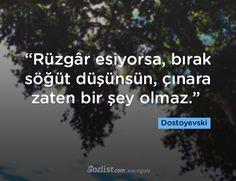 """""""Rüzgâr esiyorsa, bırak söğüt düşünsün, çınara zaten bir şey olmaz."""" #dostoyevski #sözleri #yazar #şair #kitap #şiir #özlü #anlamlı #sözler"""
