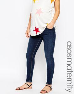 ASOS Maternity Ridley Skinny Ankle Grazer Jean In Elm Dark Wash