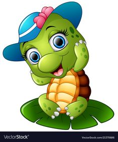 Illustration of Happy turtle with blue cap on the lotus leaf vector art, clipart and stock vectors. Cute Cartoon Pictures, Cartoon Pics, Cartoon Art, Cute Pictures, Happy Turtle, Turtle Love, Cute Turtle Cartoon, Baby Animals, Cute Animals