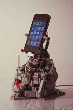 Create a mechanized phone dock with Lego bricks.