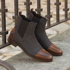 Chelsea Boot Multi in Dark Grey Flannel with Medium Brown Po.- Chelsea Boot Multi in Dark Grey Flannel with Medium Brown Polished Calf Leather Handcrafted Custom Made Shoes From Robert August. Create your own custom designed shoes. Mens Shoes Boots, Mens Boots Fashion, Shoe Boots, Fashion Vest, Fall Fashion, Custom Made Shoes, Custom Design Shoes, Men Dress, Dress Shoes