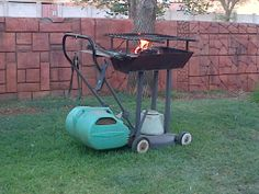 Cut the grass while you braai - stunning idea - what to do with an old lawn motor that aren't working anymore